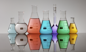 chemicals in beakers